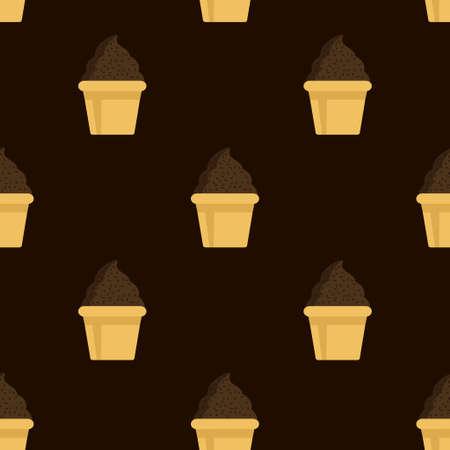 Cream chocolate cake seamless pattern. Illustration