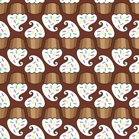 White cream choco cake seamless pattern