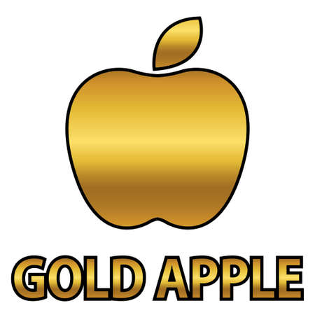 Golden apple symbol with gold text