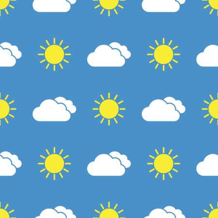 Raining cloud and falling drops seamless pattern
