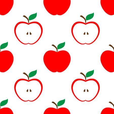 Apple and half red seamless pattern background Illustration