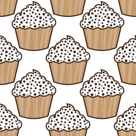 Cupcake vector pattern