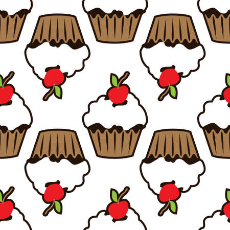Cupcake vector pattern white background. Illustration