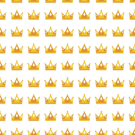 Seamless gold white crown pattern background illustration.