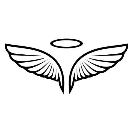 A Vector sketch of angel wings isolated on plain background. Stock Illustratie