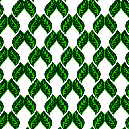 A Seamless white pattern with green leaves