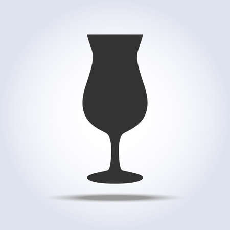 Wineglass goblet object in gray colors isolated on gray background Vectores