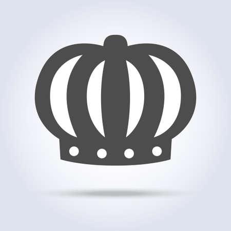 Gray monarch crown icon symbol Stock Photo