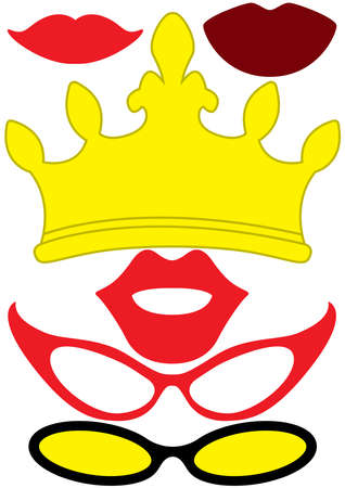 Party accessories for women set - glasses, crown, lips - for design, photo booth, scrapbook in Vector illustration.