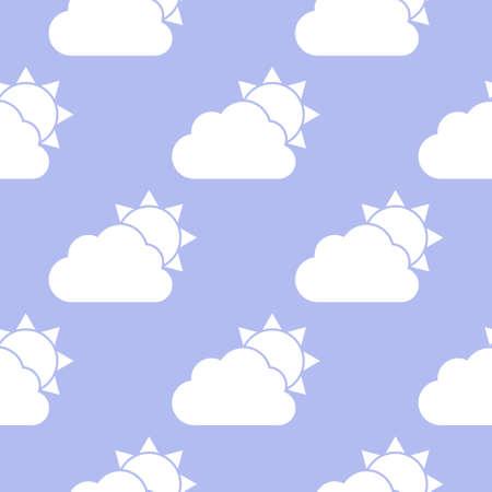 Cloud and sun seamless pattern.