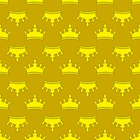 Seamless gold crown pattern background. Illustration