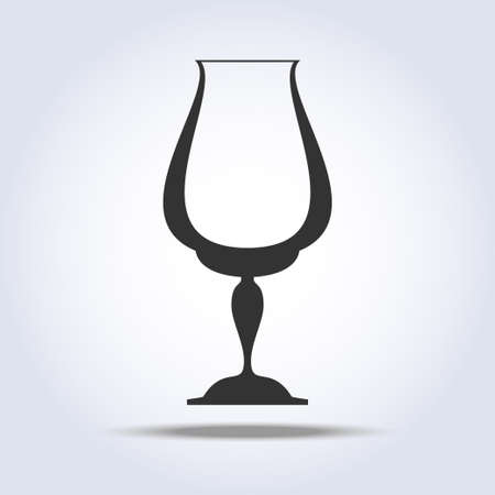 Wineglass goblet object in gray colors Vector illustration. Illustration