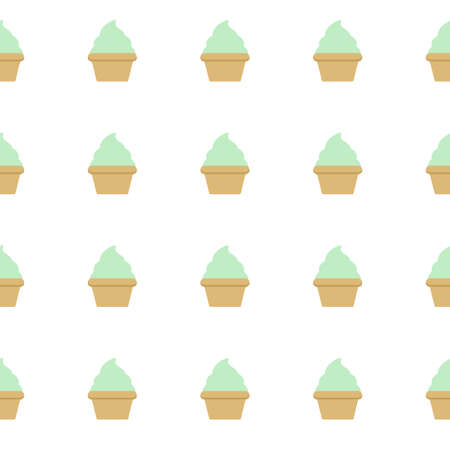 Mint cream cake seamless white pattern. Illustration