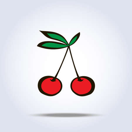 Pair of cherries icon on gray background.