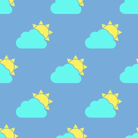 Cloud and sun seamless pattern