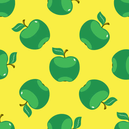Apple green yellow seamless pattern background. Vector illustration
