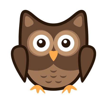 Owl stylized icon nature colors isolated on plain  background.