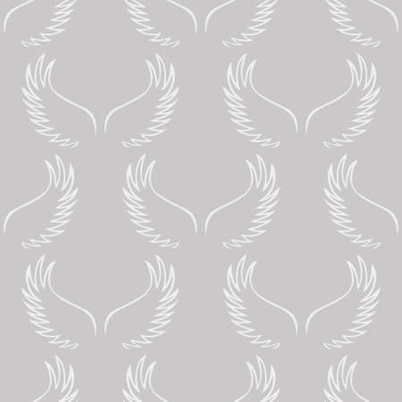 Angel white wings sketch pattern isolated on  plain gray background Illustration
