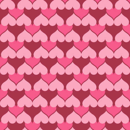Continuous pink hearts pattern on colored illustration.