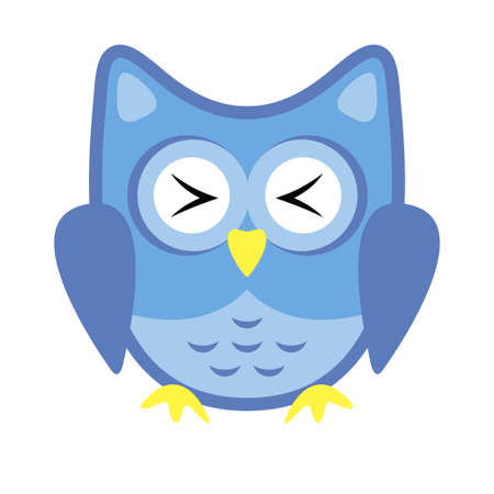 Owl stylized icon blue colors Stock Vector - 101676591
