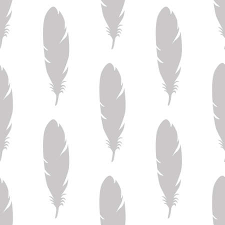 Feather seamless pattern in gray colors