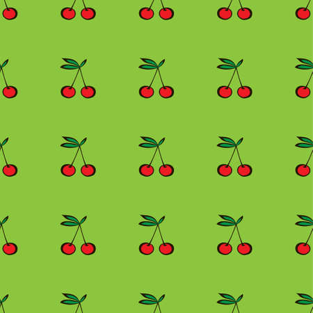 Pair of cherries seamless pattern on green