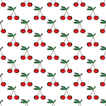 Pair of cherries seamless pattern on white