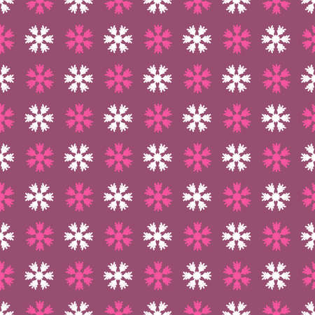 Seamless pattern with snowflakes on lilac background. Vector Illustration Çizim
