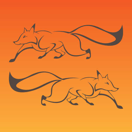 Fox sign in curve lines. Vector illustration