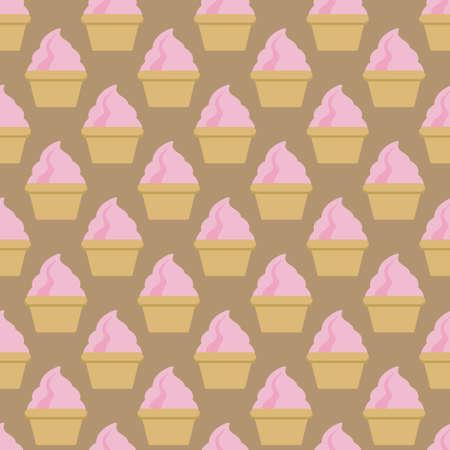 Cupcake vector pattern beige pink art background. Vector illustration