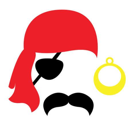 Ensemble de visage d'accessoires de photomaton pirate - moustache, œilleton, boucle d'oreille
