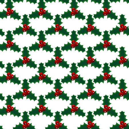Seamless vector christmas mistletoe bright art pattern. Vector illustration