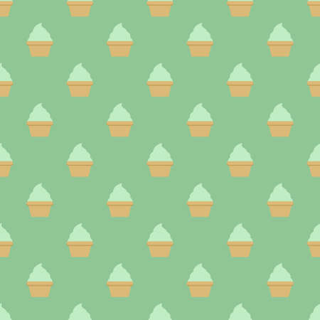Mint cream cake seamless green pattern. Vector illustration