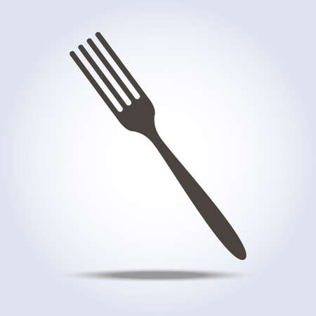 Fork sign simple icon in gray colors. Vector illustration