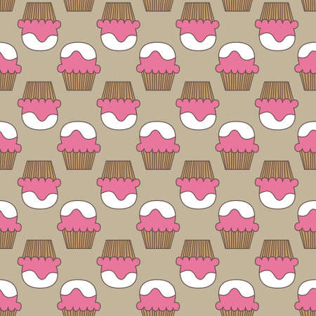 Cupcake vector pattern beige pink art background. Vector illustration