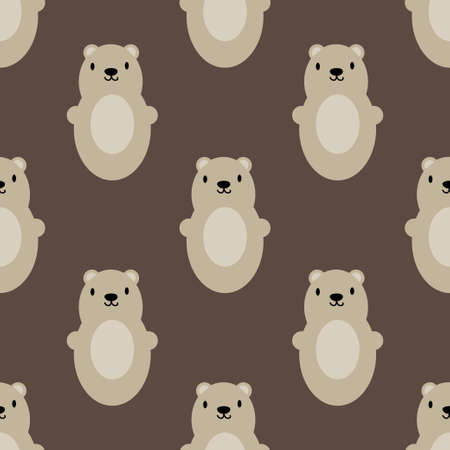 Teddy bear seamless art brown simple pattern. Vector illustration