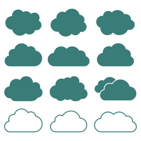 Set of cloud icons flat style in vector. Vector illustration