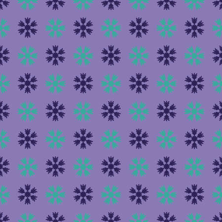 Seamless art pattern with snowflakes on lilac