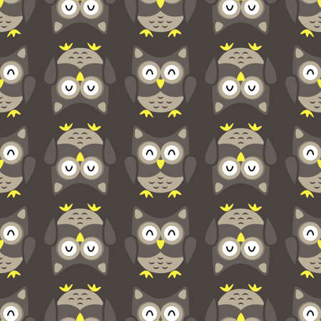 Owl stylized art seemless pattern nature colors. Vector illustration
