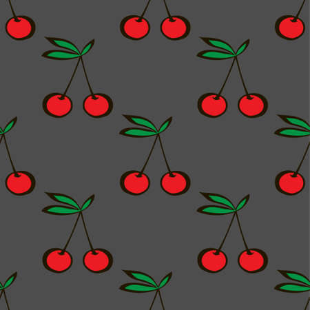 Pair of cherries seamless pattern gray background. Vector illustration Illustration