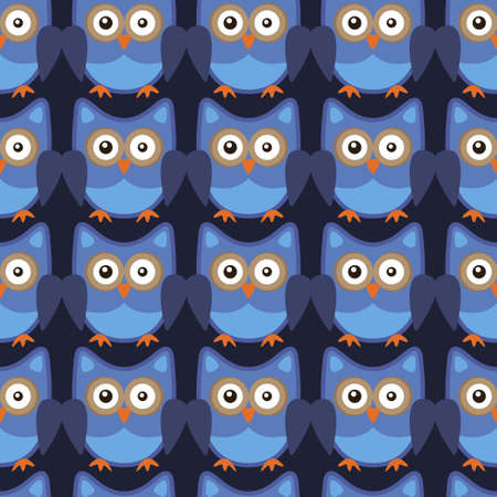 Owl stylized art seemless pattern blue colors. Vector illustration
