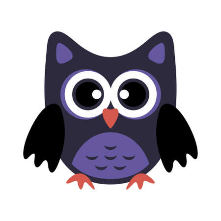 Owl stylized icon dark blue colors. Vector illustration