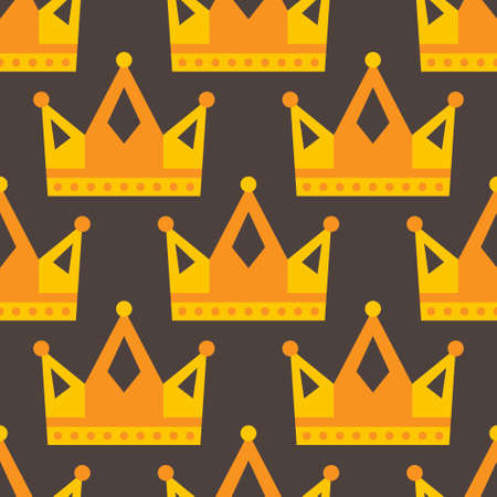 Seamless gold crown pattern on dark background