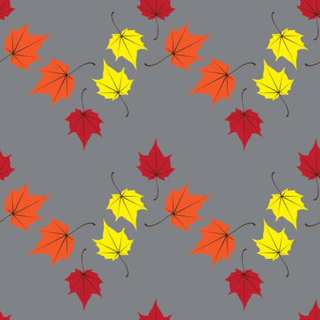 Maple leaves seamless vector orange art background. Vector illustration