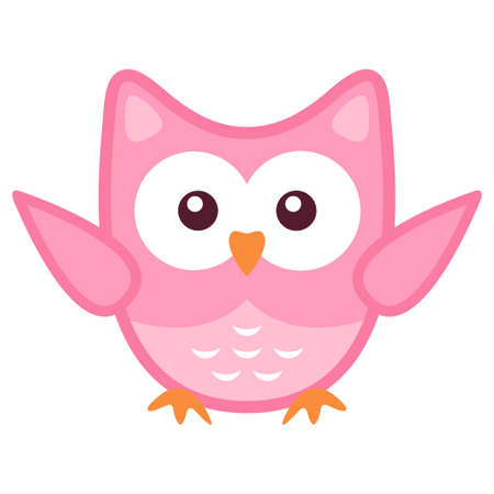 Owl stylized art icon in pink colors Illustration