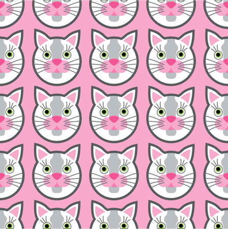 Cute cats faces seamless kids pink pattern. Vector illustration