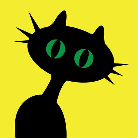 Black cartoon cat with green eyes on yellow. Vector illustration Illustration