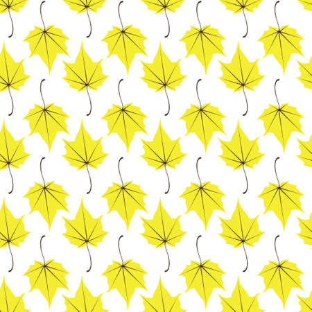 Maple leaves seamless vector white yellow art background. Vector illustration