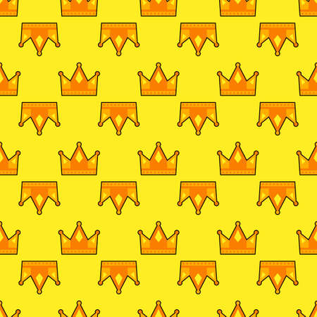 Seamless gold white crown pattern background. Vector illustration