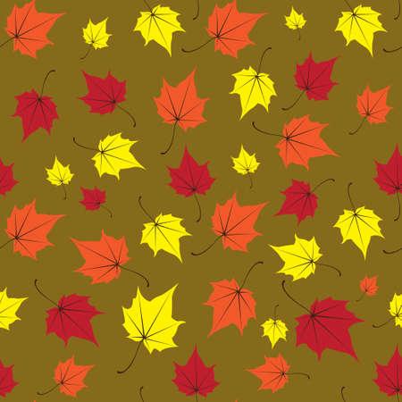 Maple leaves seamless vector green orange art background